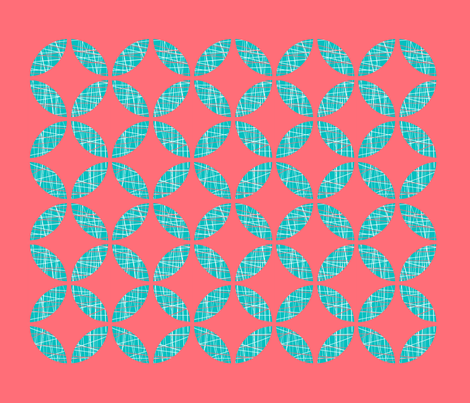 Coral & Teal Tea Towel fabric by jennjersnap on Spoonflower - custom fabric