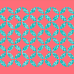 Coral & Teal Tea Towel
