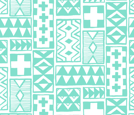Geoblocks Mint fabric by leanne on Spoonflower - custom fabric