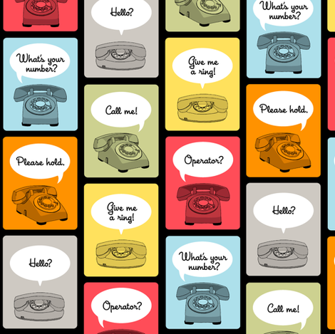 Hotline, Hotline (Black) || telephone phone retro words phrases speech bubbles fabric by pennycandy on Spoonflower - custom fabric