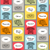 Hotline, Hotline (Gray) || telephone phone retro words phrases speech bubbles