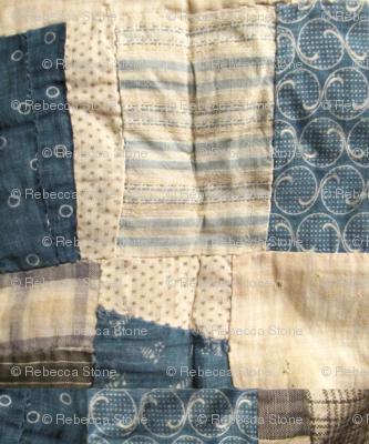 Vintage quilt in navy and cream