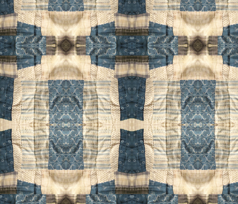 Vintage quilt in navy and cream fabric by birds_have_flowers on Spoonflower - custom fabric