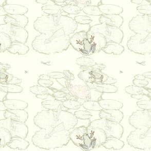 frog, dragonfly & lilypad