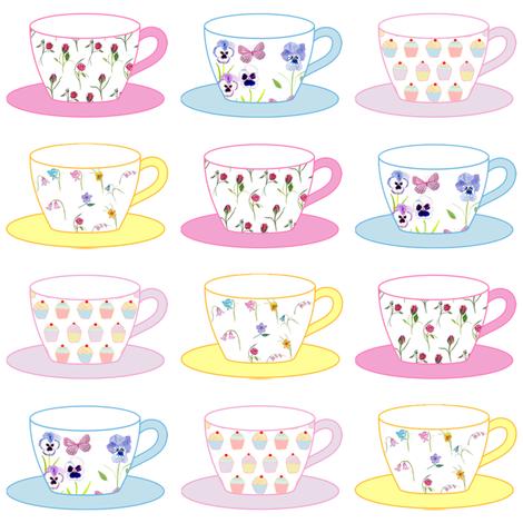 Teacups fabric by de-ann_black on Spoonflower - custom fabric