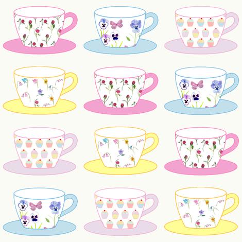 Teacups, Cream fabric by de-ann_black on Spoonflower - custom fabric