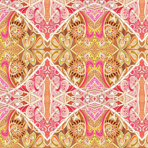 Old Fashioned Twisted Paisley Victorian (in salmon and coco) fabric by edsel2084 on Spoonflower - custom fabric