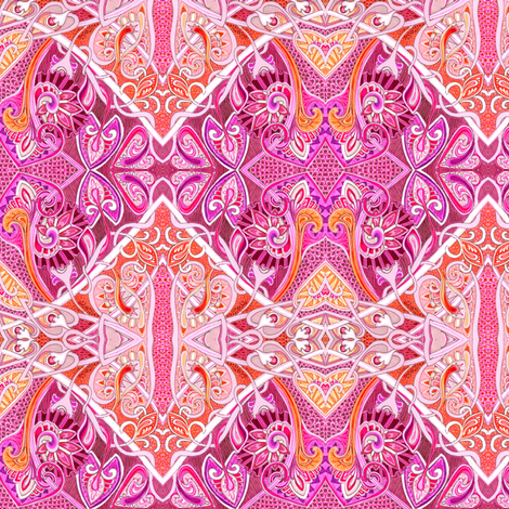 Old Fashioned Twisted Paisley Victorian (in magenta/orange) fabric by edsel2084 on Spoonflower - custom fabric