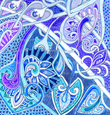 Old Fashioned Twisted Paisley Victorian (in blue)