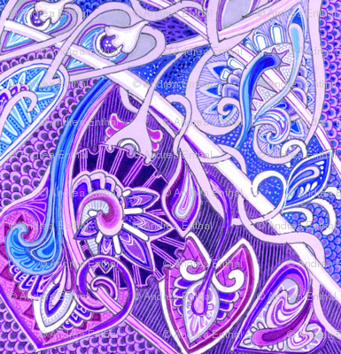 Old Fashioned Twisted Paisley Victorian (in purples)