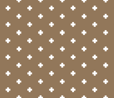 spaced out plus in brown fabric by candykirbydesigns on Spoonflower - custom fabric