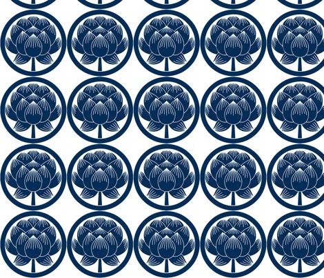 Shinzo Lily blue fabric by flyingfish on Spoonflower - custom fabric