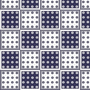 Flower Squares Large - Navy