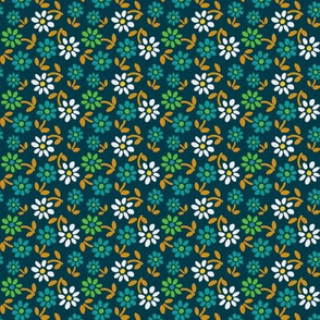 Tiny Flowers - Blue Green