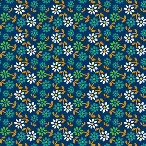 Tiny Flowers - Dark Blue