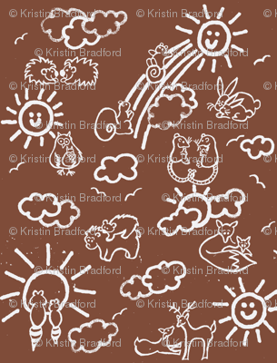 You Are My Sunshine Woodland Animals-in Brown and White