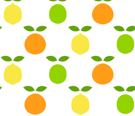 mod_citrus_dot_with_leaves fabric by victorialasher on Spoonflower - custom fabric
