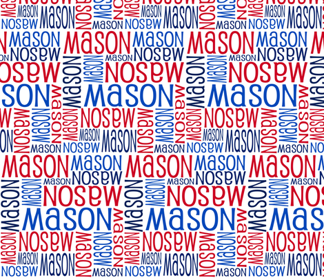 Personalised Name Fabric - Red Navy Blue fabric by shelleymade on Spoonflower - custom fabric