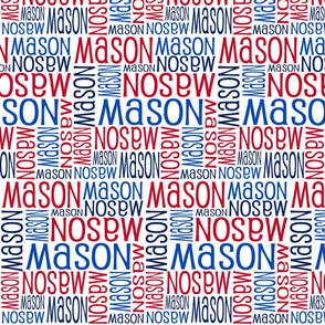 Personalised Name Fabric - Red Navy Blue