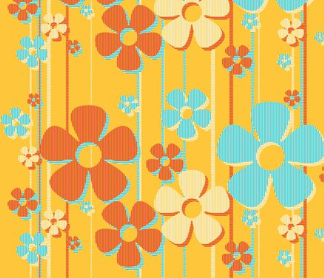 Striped Daisies - caramel fabric by wiccked on Spoonflower - custom fabric