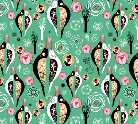 love birds fabric by tanor on Spoonflower - custom fabric