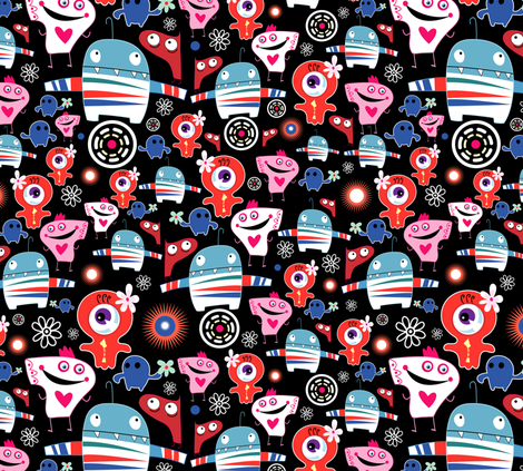 happy monsters fabric by tanor on Spoonflower - custom fabric