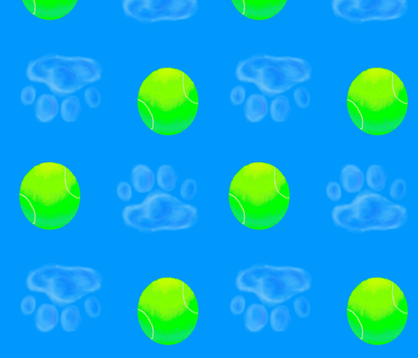 Tennis Ball and Dog Pawprint fabric by weasel_puppy on Spoonflower - custom fabric