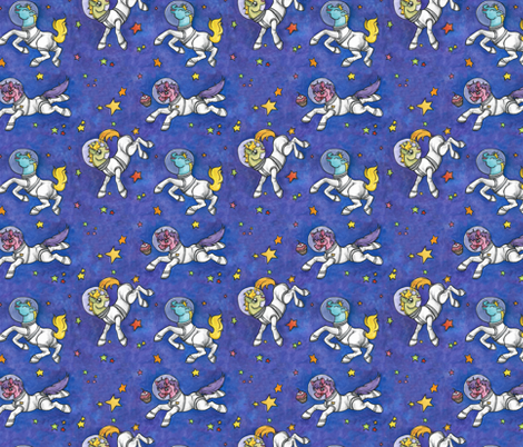 Ponies in space fabric tlouey spoonflower for Space photo fabric