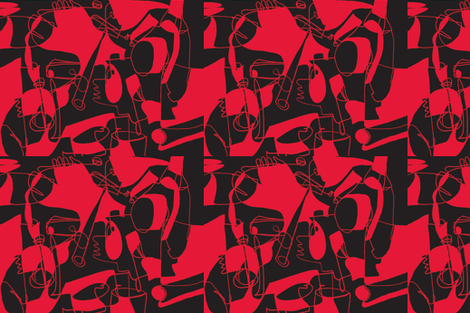 Picasso Red fabric by teebeedesigns on Spoonflower - custom fabric