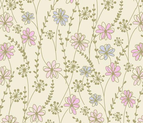 sweet floral_ecru fabric by paintedstudioartdesign@gmail_com on Spoonflower - custom fabric