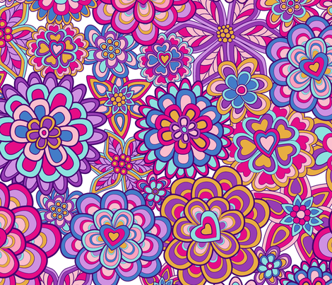 My happy flowers fabric by juliagrifol on Spoonflower - custom fabric
