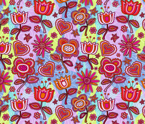 My folk flowers fabric by juliagrifol on Spoonflower - custom fabric
