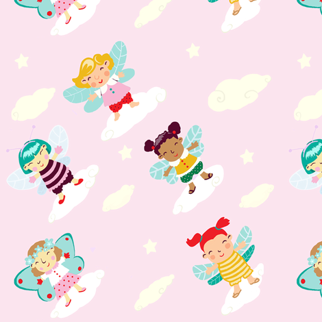 Angels and fairies fabric by fra on Spoonflower - custom fabric