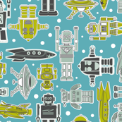 Robots and Spacecraft blue