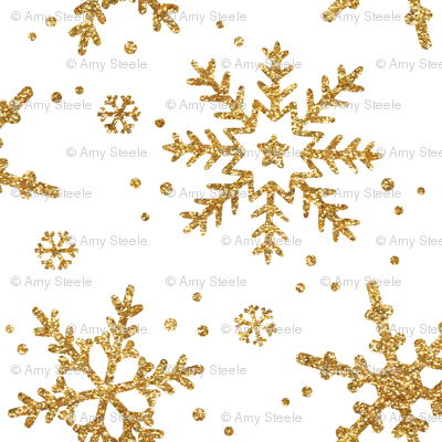 Snowflakes in Gold Glitter