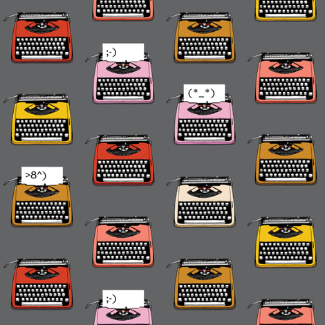 Typewriter Emojis* (Pepper Pot) || type text vintage analog symbols emoticons greetings fabric by pennycandy on Spoonflower - custom fabric