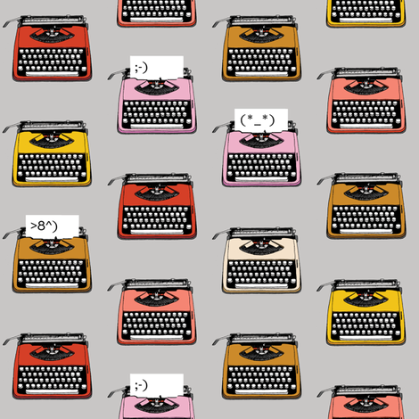 Typewriter Emojis* (Silkscreen) || type text vintage analog symbols emoticons greetings fabric by pennycandy on Spoonflower - custom fabric