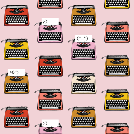 Typewriter Emojis* (Capote) || type text vintage analog symbols emoticons greetings fabric by pennycandy on Spoonflower - custom fabric