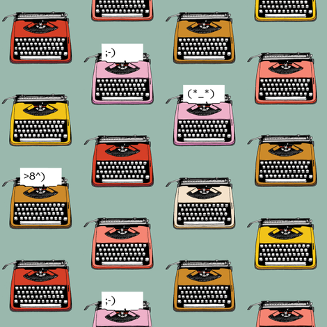 Typewriter Emojis* (Camouflage) || type text vintage analog symbols emoticons greetings fabric by pennycandy on Spoonflower - custom fabric
