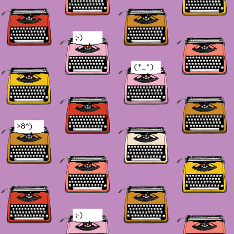 Typewriter Emojis* (Lavender Disaster) || type text vintage analog symbols emoticons greetings fabric by pennycandy on Spoonflower - custom fabric