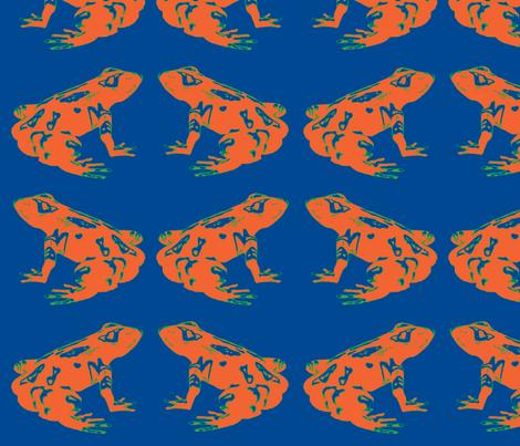 Orange Tree Frog in Blue fabric by walkwithmagistudio on Spoonflower - custom fabric
