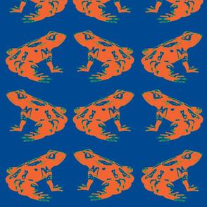 Orange Tree Frog in Blue