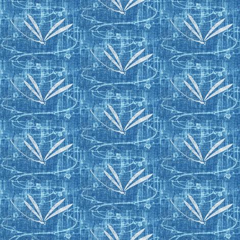 dragonfly on pond - denim blue, white fabric by materialsgirl on Spoonflower - custom fabric