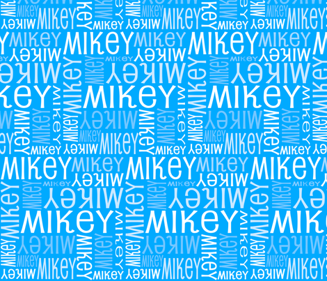 Personalised Name Fabric - Robot Light Blue fabric by shelleymade on Spoonflower - custom fabric