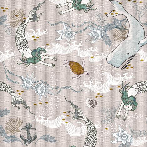 Mermaids (SMALL) fabric by nouveau_bohemian on Spoonflower - custom fabric