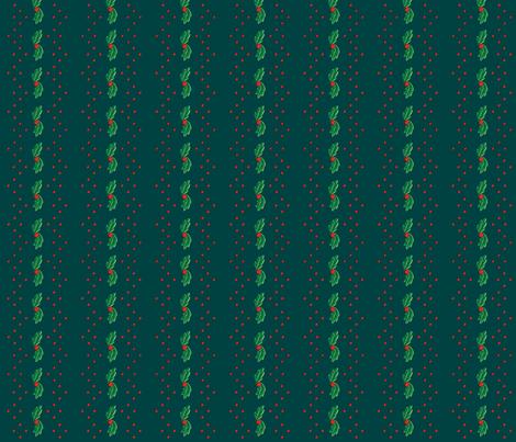 Green Holly Stripe ©2013 by Jane Walker fabric by artbyjanewalker on Spoonflower - custom fabric