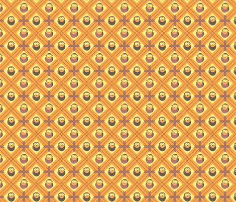 Sleepy Plaid Owls (Yellow) fabric by eppiepeppercorn on Spoonflower - custom fabric