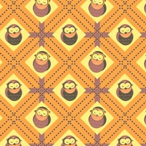 Sleepy Plaid Owls (Yellow)