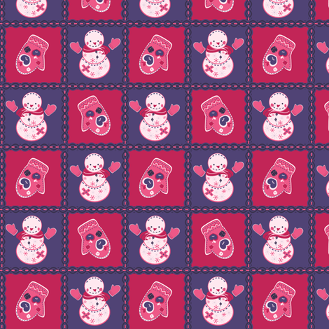 Girly Snowman Quilt fabric by eppiepeppercorn on Spoonflower - custom fabric
