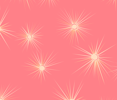 Coral starburst fabric by tuppencehapenny on Spoonflower - custom fabric